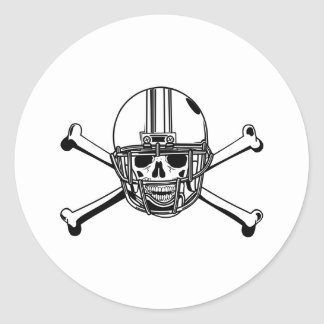 Skull & Cross Bones Football Player Classic Round Sticker