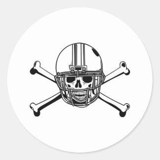 Skull & Cross Bones Football Player Round Sticker