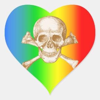 Skull & Cross Bones. Heart Sticker