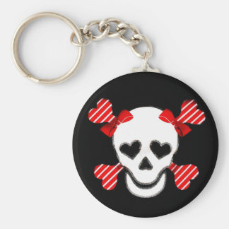 Skull & Cross Bones in Red and White with Bows Basic Round Button Keychain