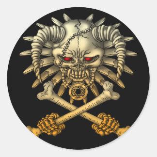skull cross round sticker