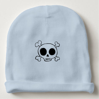 skull & crossbones blue baby boy hat baby beanie