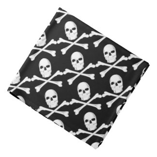 Skull Crossbones Jolly Roger Black/White Bandana