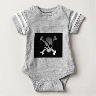 Skull Crossbones Pirate Flag Fade Eye Patch Baby Bodysuit