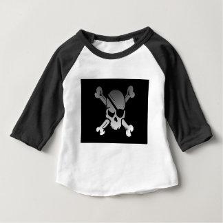 Skull Crossbones Pirate Flag Fade Eye Patch Baby T-Shirt