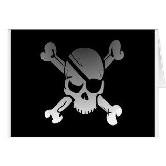 Skull Crossbones Pirate Flag Fade Eye Patch Card
