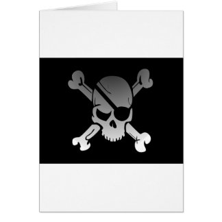 Skull Crossbones Pirate Flag Fade Eye Patch Card