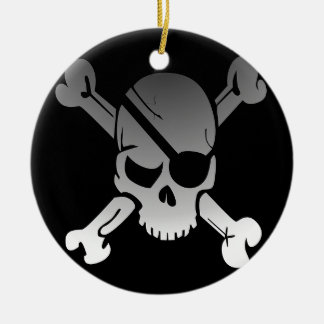 Skull Crossbones Pirate Flag Fade Eye Patch Ceramic Ornament