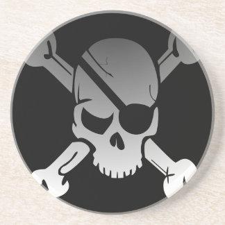 Skull Crossbones Pirate Flag Fade Eye Patch Coaster