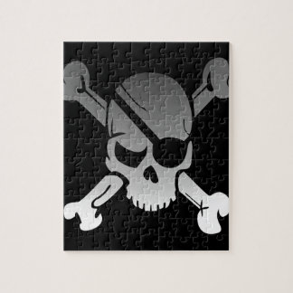 Skull Crossbones Pirate Flag Fade Eye Patch Jigsaw Puzzle