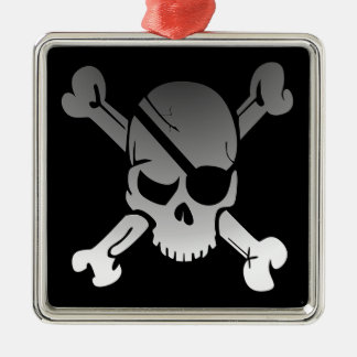 Skull Crossbones Pirate Flag Fade Eye Patch Metal Ornament