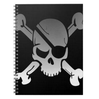 Skull Crossbones Pirate Flag Fade Eye Patch Notebook