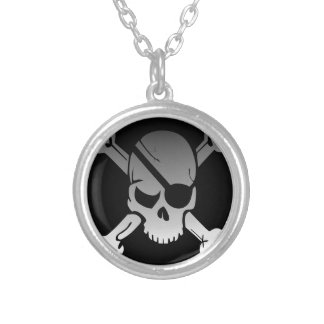 Skull Crossbones Pirate Flag Fade Eye Patch Silver Plated Necklace