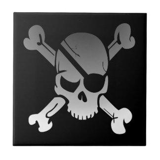 Skull Crossbones Pirate Flag Fade Eye Patch Tile