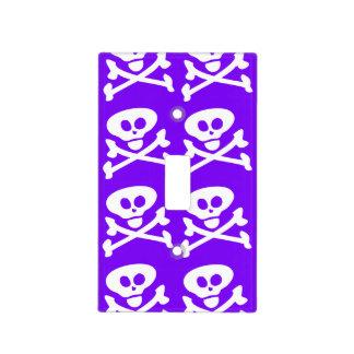 Skull Crossbones Purple and White Light Switch Cover