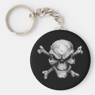 Skull Crossed Bones Basic Round Button Keychain