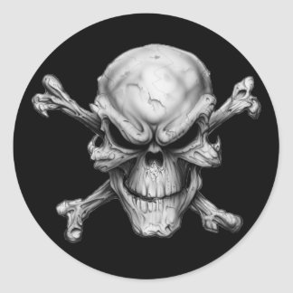 Skull Crossed Bones Round Sticker