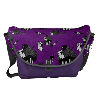 Skull Cupcakes Purple Goth doodle pattern Courier Bags