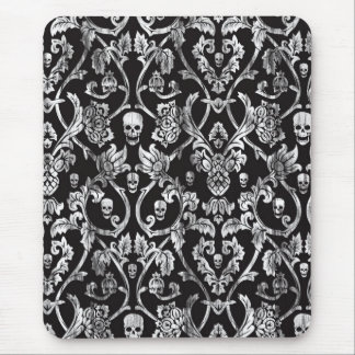 Skull damask in black and white. mouse pad