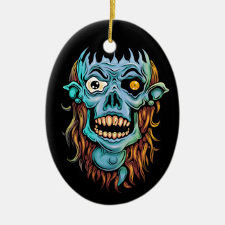 skull dark elf with no brain ceramic ornament