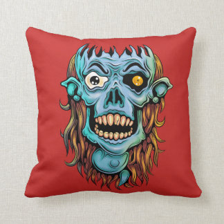 skull dark elf with no brain throw pillow