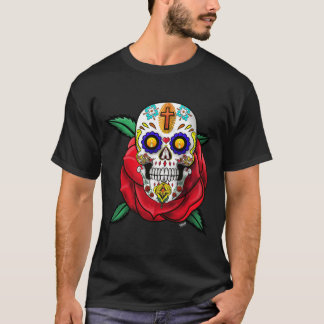 Skull Day Of  The Dead  Dia De Los Muertos T-Shirt