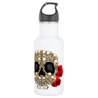 Skull Design - Pyramid of Skulls and Roses 532 Ml Water Bottle