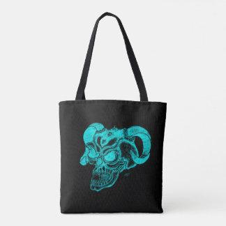 Skull Devil Head Black and Green Design Tote Bag