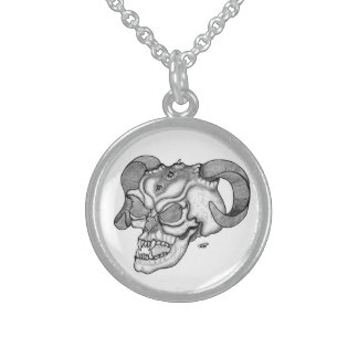 Skull Devil head Black and white Design Sterling Silver Necklace