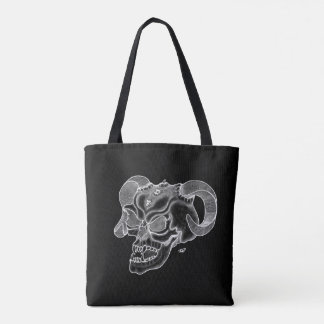 Skull Devil Head Black and White Design Tote Bag