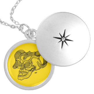 Skull Devil head Black and Yellow Design Round Locket Necklace