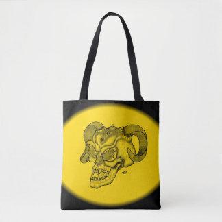 Skull Devil Head Black and Yellow Design Tote Bag