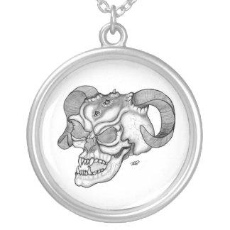 Skull devil head black knows design round pendant necklace