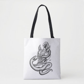 Skull - Devil Head with Snake Tote Bag