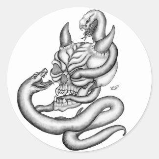 Skull - devil heads with snake round sticker