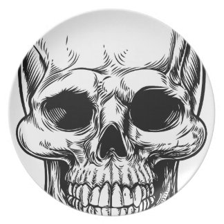 Skull Drawing Party Plates