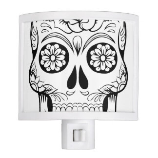 Skull drawing with black ink in white background night lite