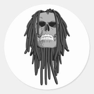 Skull Dreads Classic Round Sticker
