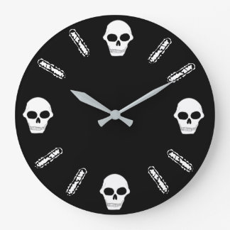 Skull Face Large Clock