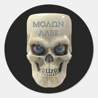 Skull Face Molon Labe Classic Round Sticker