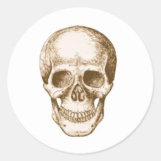 Skull Face Sepia Classic Round Sticker