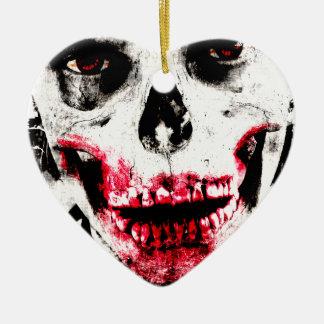 Skull Face Zombie Man Creepy Horror Ceramic Heart Ornament