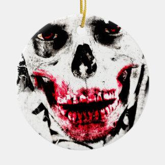 Skull Face Zombie Man Creepy Horror Round Ceramic Ornament