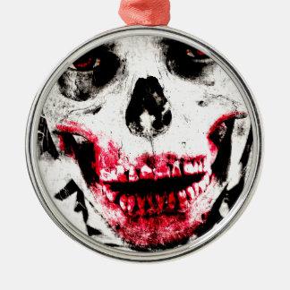 Skull Face Zombie Man Creepy Horror Silver-Colored Round Ornament