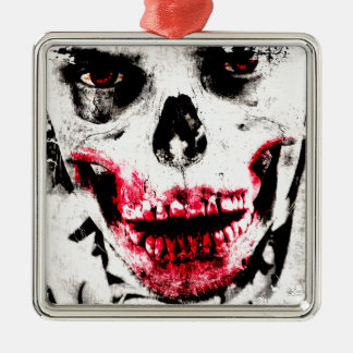 Skull Face Zombie Man Creepy Horror Silver-Colored Square Ornament