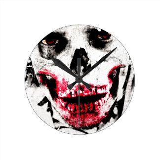 Skull Face Zombie Man Creepy Horror Wall Clock