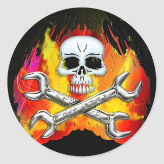 Skull Flames and Crossed Chrome Wrenches Classic Round Sticker