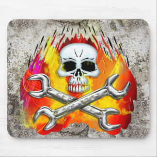 Skull Flames and Crossed Chrome Wrenches Mouse Pad