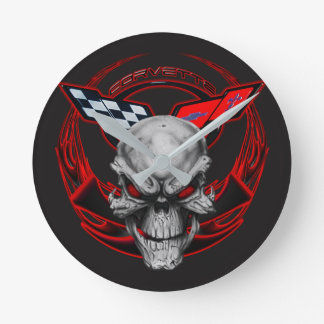 Skull & Flames Corvette Clock