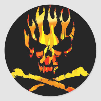 skull flames stckers round sticker